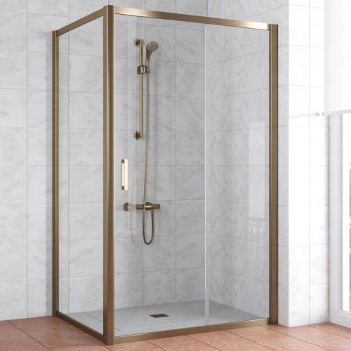 Душевой уголок Vegas Glass ZP+ZPV 120*90 05 01 профиль бронза, стекло прозрачное
