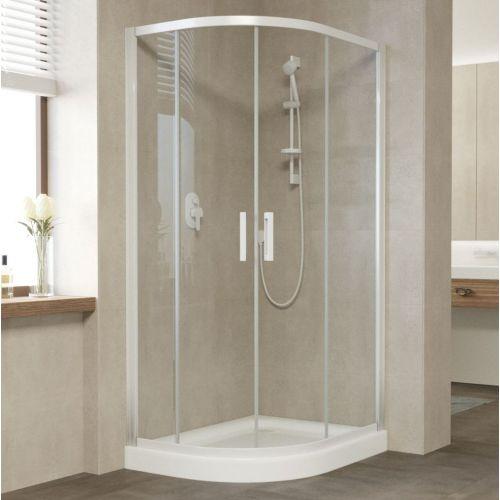 Душевой уголок Vegas Glass ZS-F 90*80 01 01 профиль белый, стекло прозрачное
