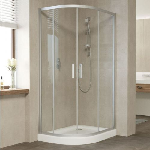 Душевой уголок Vegas Glass ZS-F 90*80 07 01 профиль матовый хром, стекло прозрачное