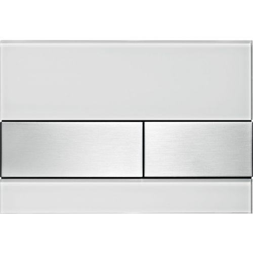 Кнопка смыва TECE Square 9240801 белое стекло, кнопка сатин