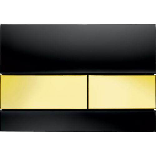 Кнопка смыва TECE Square 9240808 черное стекло, кнопка золото