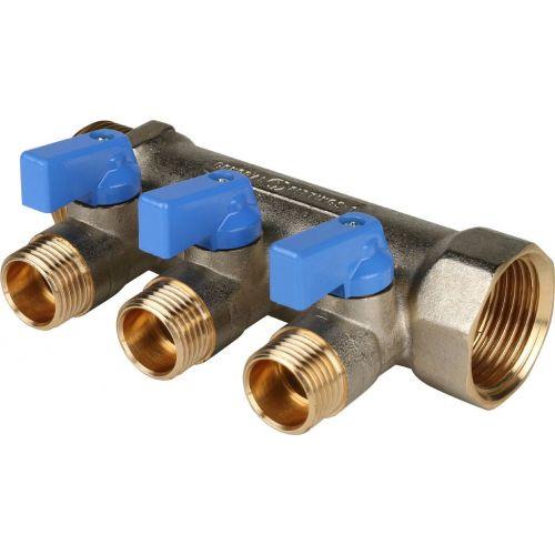 """Коллектор Stout SMB 6201 1"""" х 1/2"""", 3 выхода, синие ручки"""