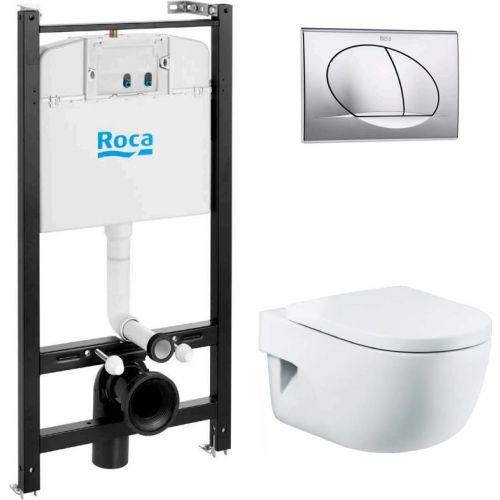 Комплект Roca Meridian 7893104110 подвесной унитаз + инсталляция + кнопка