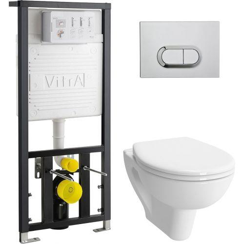 Комплект VitrA S20 9004B003-7202 подвесной унитаз + инсталляция + кнопка