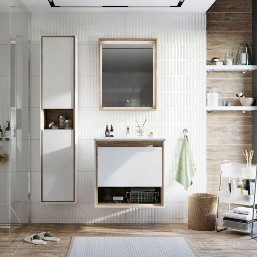 Мебель для ванной STWORKI Ольтен 60 белая, дуб сонома купить по цене 22220 руб. в Москве в интернет магазине Amzu