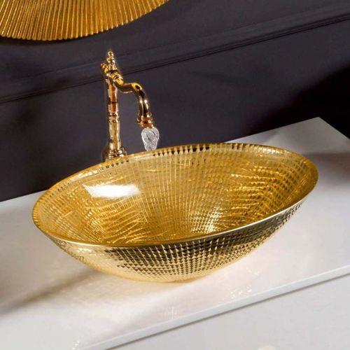 Мебельная раковина Armadi Art NeoArt хрустальная, золото