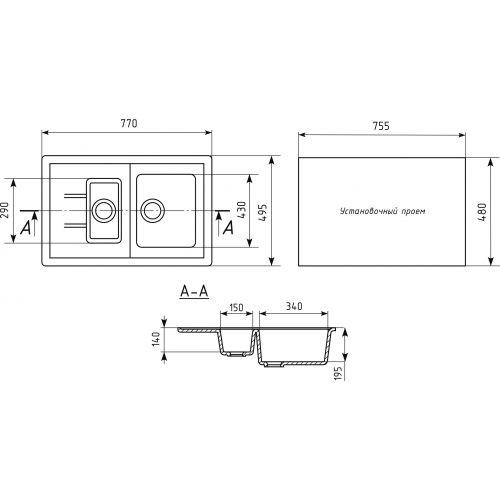 Мойка кухонная Mixline ML-GM22 бежевый