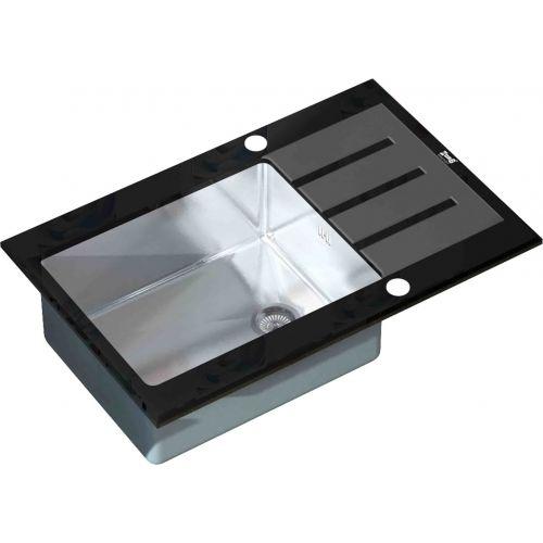 Мойка кухонная Zorg Inox Glass GL-7851-BLACK черное стекло