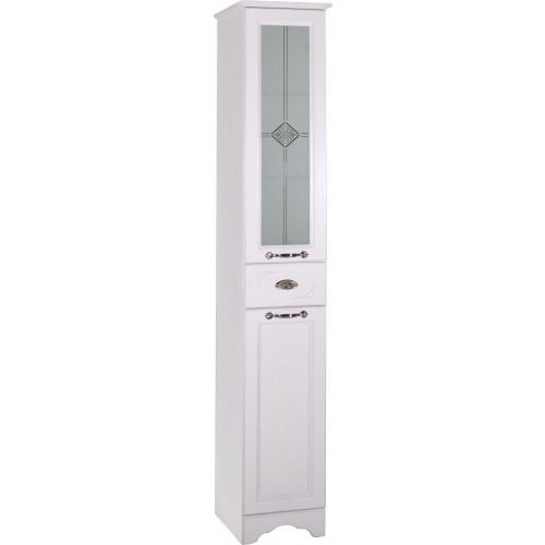 Шкаф-пенал ASB-Woodline Бергамо 30 белый, патина серебро