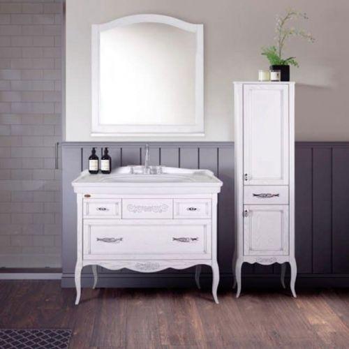 Шкаф-пенал ASB-Woodline Модерн 40 белый, патина серебро