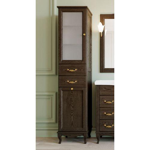 Шкаф-пенал ValenHouse Эллина 40 L с бельевой корзиной, кальяри, фурнитура золото