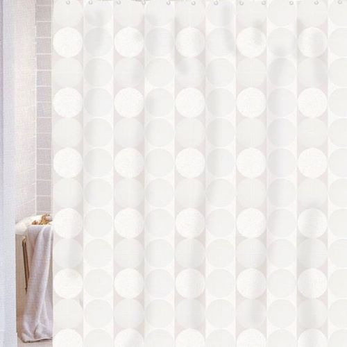 Штора для ванной Carnation Home Fashions Jacquard White Circle