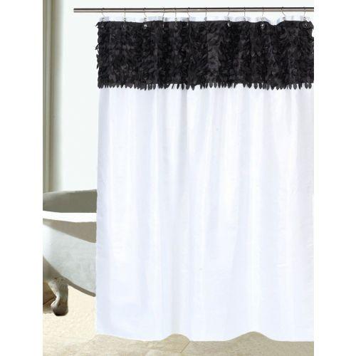 Штора для ванной Carnation Home Fashions Jasmine FSCL-JAS/75 черная,белая