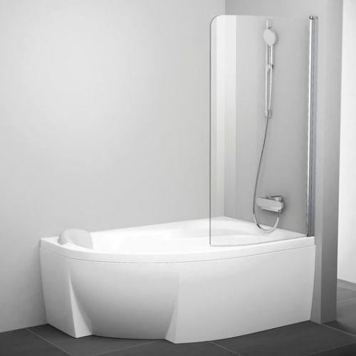 Шторка на ванну Ravak Rosa CVSK1 140/150 R Transparent, профиль блестящий