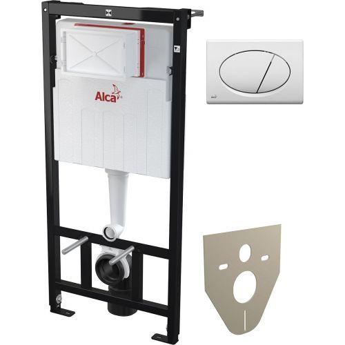 Система инсталляции для унитазов AlcaPlast Sadromodul AM101/1120 + M70 + M91 4 в 1 кнопка смыва белая