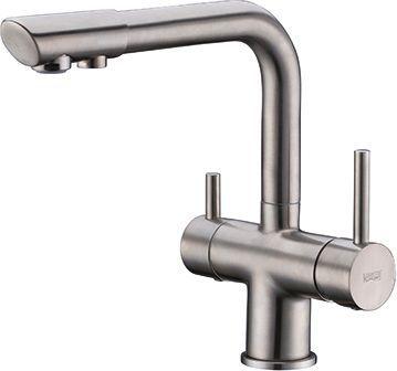 Смеситель Wasserkraft A8027 для кухонной мойки, матовый хром