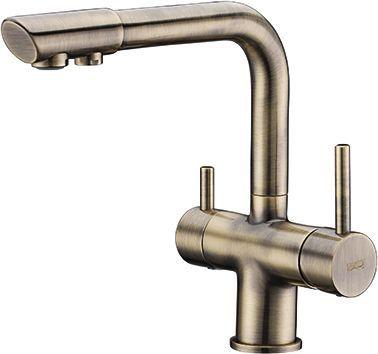 Смеситель Wasserkraft A8037 для кухонной мойки, светлая бронза