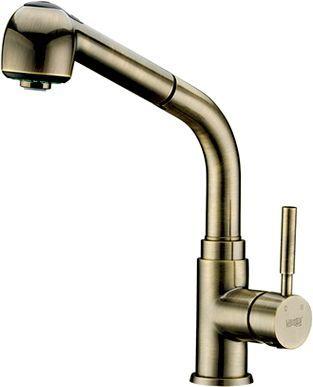 Смеситель Wasserkraft A8237 для кухонной мойки, светлая бронза