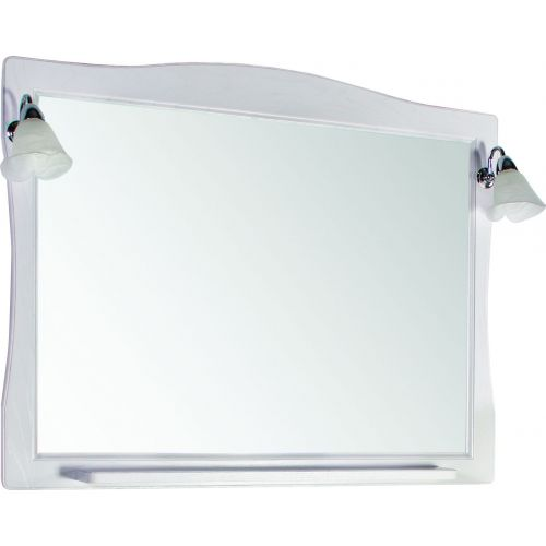 Зеркало ASB-Woodline Модена 105 белое, патина серебро