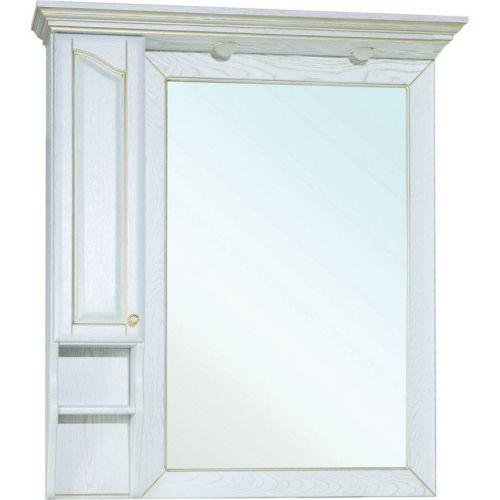 Зеркало-шкаф Bellezza Рим 100 L белое патина золото