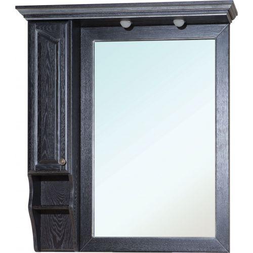 Зеркало-шкаф Bellezza Рим 100 L черное патина серебро