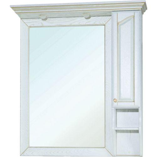Зеркало-шкаф Bellezza Рим 100 R белое патина золото