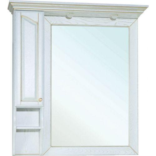 Зеркало-шкаф Bellezza Рим 110 L белое патина золото