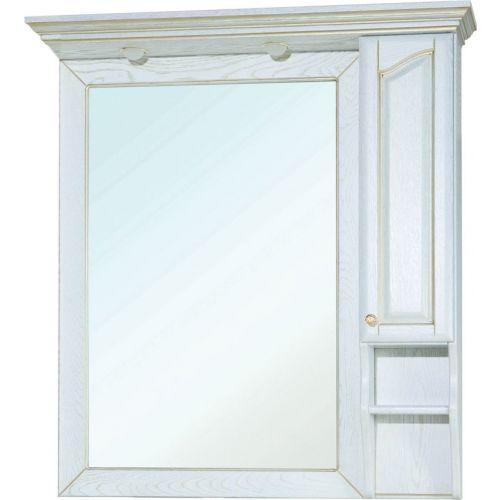 Зеркало-шкаф Bellezza Рим 110 R белое патина золото