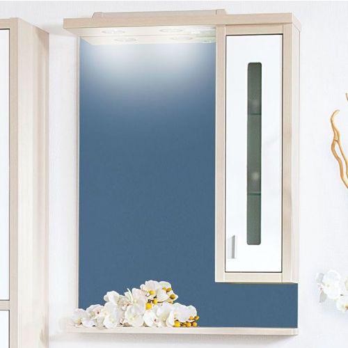 Зеркало-шкаф Бриклаер Бали 62 светлая лиственница, белый глянец, R