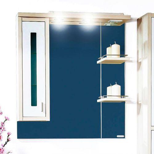 Зеркало-шкаф Бриклаер Бали 75 светлая лиственница, белый глянец, L