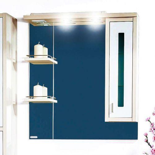Зеркало-шкаф Бриклаер Бали 75 светлая лиственница, белый глянец, R
