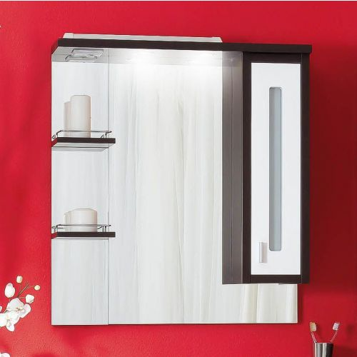 Зеркало-шкаф Бриклаер Бали 75 венге, белый глянец, R