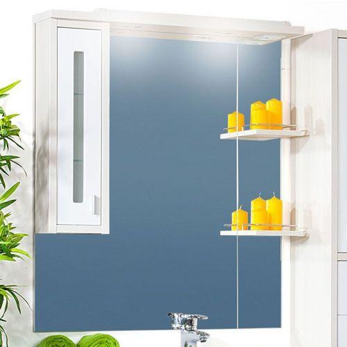 Зеркало-шкаф Бриклаер Бали 90 светлая лиственница, белый глянец, L