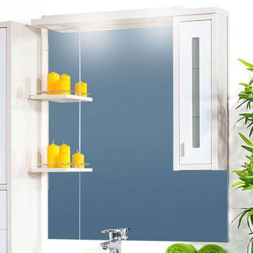 Зеркало-шкаф Бриклаер Бали 90 светлая лиственница, белый глянец, R