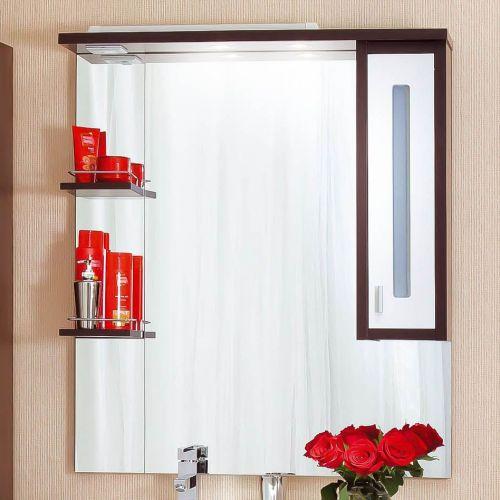 Зеркало-шкаф Бриклаер Бали 90 венге, белый глянец, R