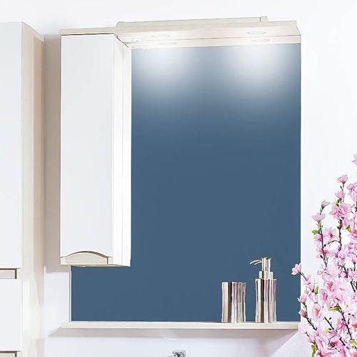 Зеркало-шкаф Бриклаер Токио 60 L светлая лиственница, белый глянец