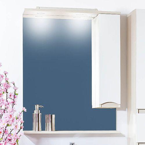 Зеркало-шкаф Бриклаер Токио 60 R светлая лиственница, белый глянец