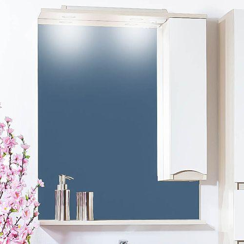 Зеркало-шкаф Бриклаер Токио 70 R светлая лиственница, белый глянец