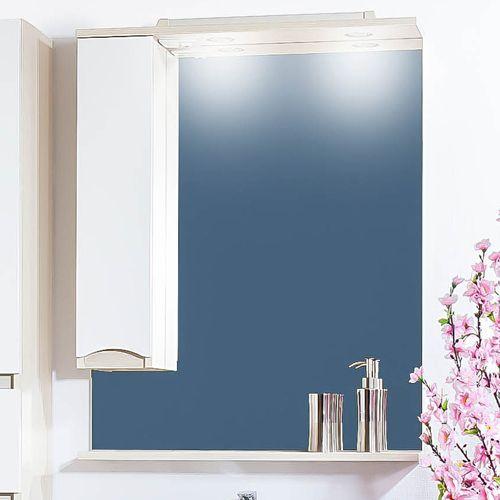 Зеркало-шкаф Бриклаер Токио 80 L светлая лиственница, белый глянец