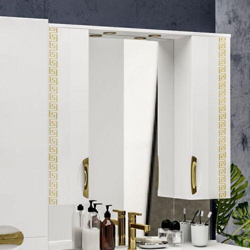 Зеркало-шкаф ValenHouse Ривьера 100 патина золото, фурнитура золото