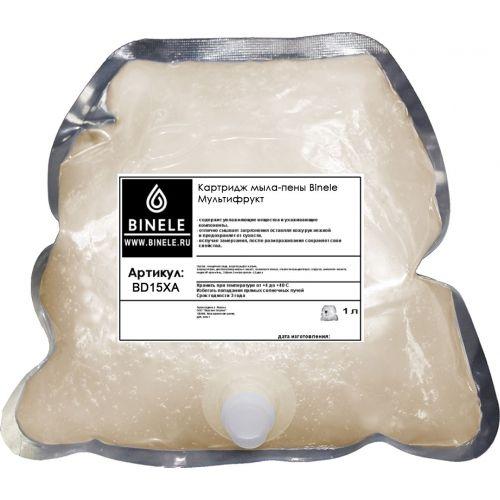 Жидкое мыло Binele BD15XA мультифрукт мыло-пена (Блок: 6 картриджей по 1 л) с помпой